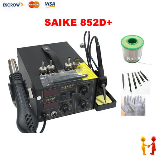 New SAIKE 852D+ 220V Iron Solder, Soldering Hot Air Gun 2 in 1 Rework Station with accessories: gloves tweezers solder wire dhl free saike 852d iron solder soldering hot air gun 2 in 1 rework station 220v 110v many gifts