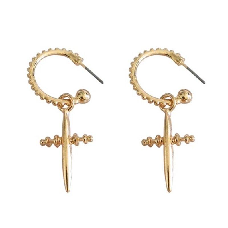 2884597014a7a LWONG Boho Chic Gold Silver Color Cross Hoop Earrings For Women ...