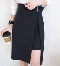 Юбки для женщин женские осень 2017 г. корейский стиль Офисные женские туфли Асимметричный Высокая талия миди черная юбка официальная одежда saia Миди B139