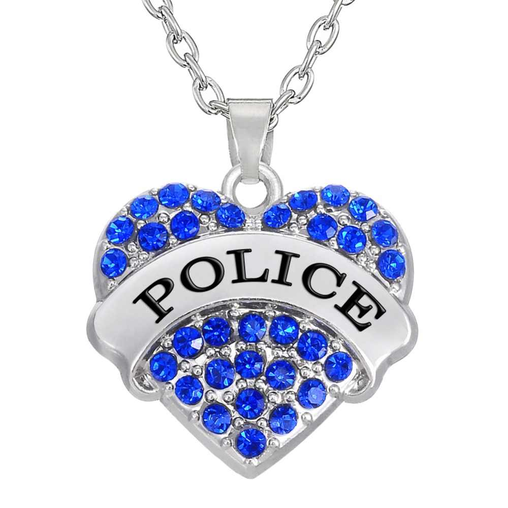 my shape Blue / Pink Crystal Paved Heart Police Pendant Necklace for Women Personalized Profession Jewelry