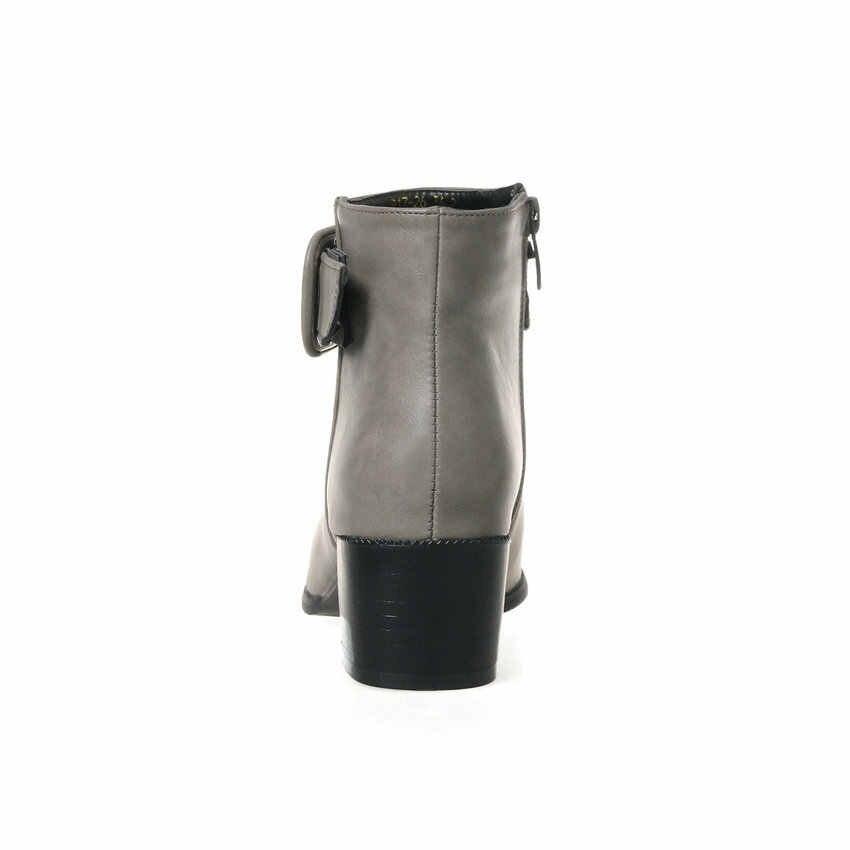 QUTAA 2020 Kadın Kış yarım çizmeler Kare Topuk Rahat Yuvarlak Ayak Ayakkabı Toka Dekorasyon Fermuar kısa çizmeler Büyük Boy 34-43