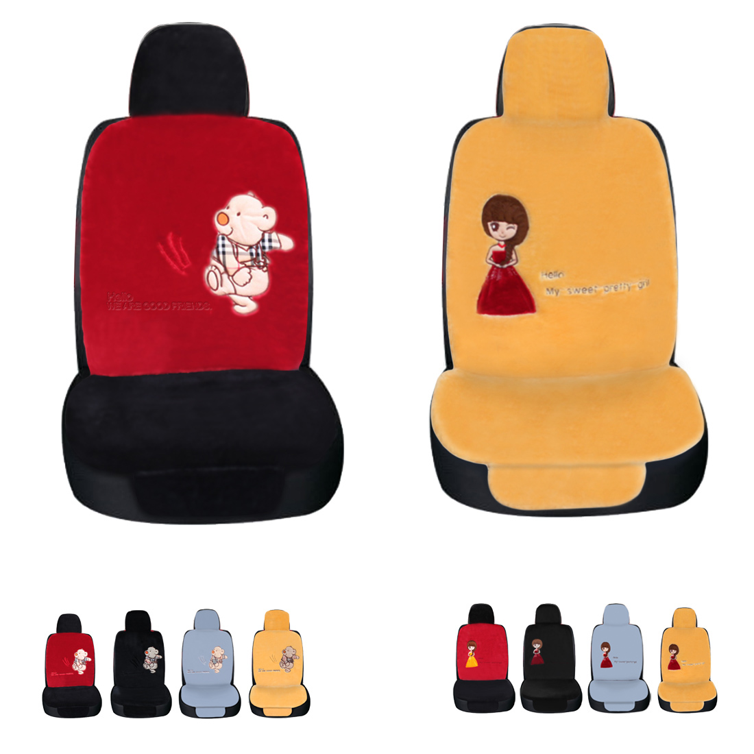 Dewtreetali Universal Winter Car Seat Cover Bear/Girl Driver Seat Cushion Protector Plus ...