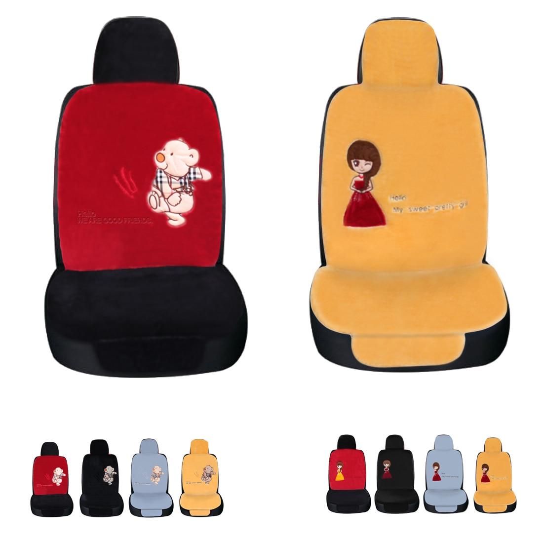 Dewtreetali Universal Winter Car Seat Cover Bear/Girl Driver Seat Cushion Protector Plush Car Pad for VW Kia Skada BMW Audi ...