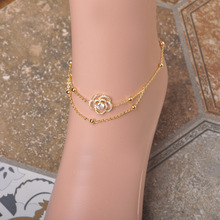 MECHOSEN Cubic Zirconia Rose Flower Anklets For Women Gold Color Cheville Beads Barefoot Sandals tobilleras de