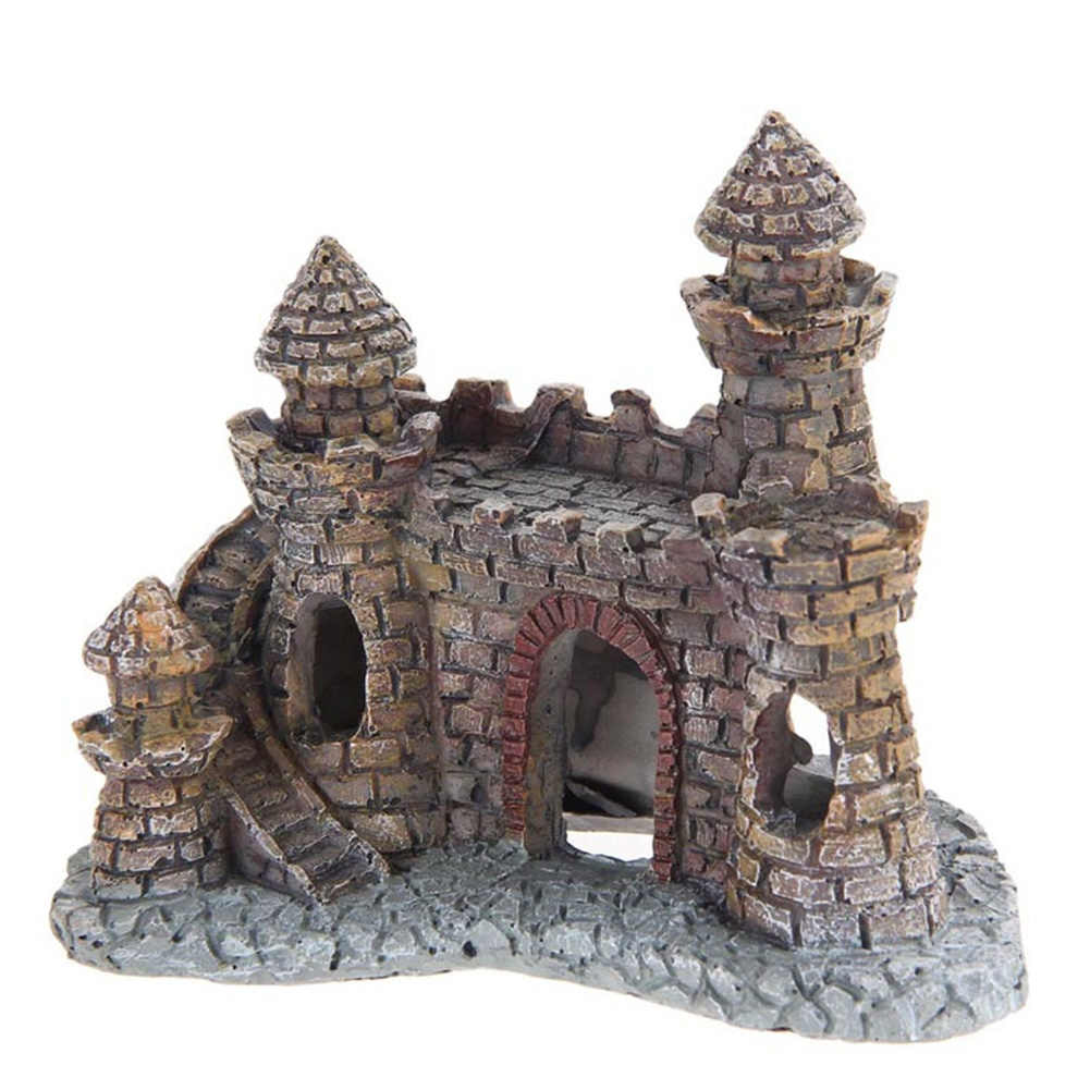 HOT Castle Tower Ornaments Fish Tank Aquarium Accessories Decoration Resin Cartoon Castle Aquariums Decorations #116