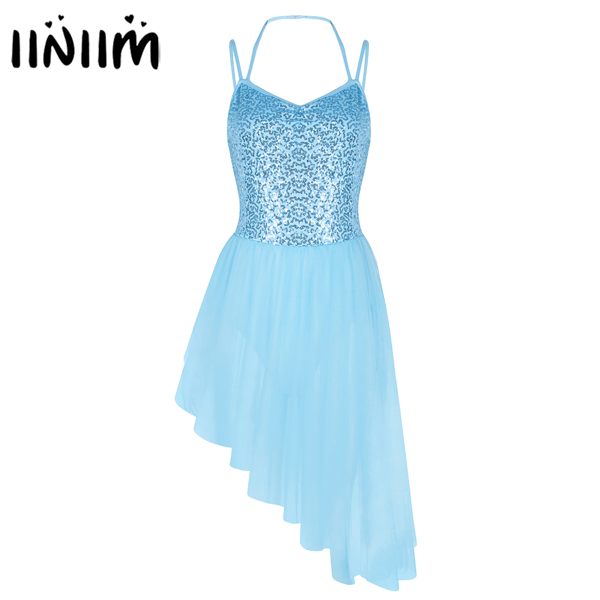 iiniim Womens Femme Ballet Tutu Dress Spaghetti Straps Sequins Irregular High Low Dress Dancewear Gymnastics Leotard for Adult