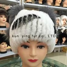 2016 Newest Women's Fashion Real Knitted Rex Rabbit Fur Hats Lady Winter Warm Charm Beanies Caps Female Headgear