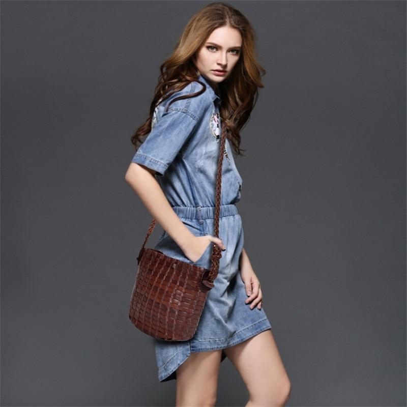 ROWLING Fashion Genuine Leather Women Weave Bags Big-Capacity Handbags Messenger Bag Retro Vintage Crossbody Bag Bolsas female