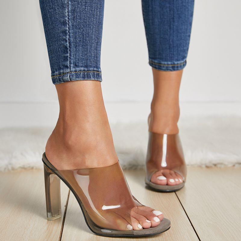 050ec297ea859 2019 PVC zapatos de gelatina sandalias peep toe grueso los tacones altos de las  mujeres de PVC transparente tacón metacrilato zapatillas de tacón alto  claro ...
