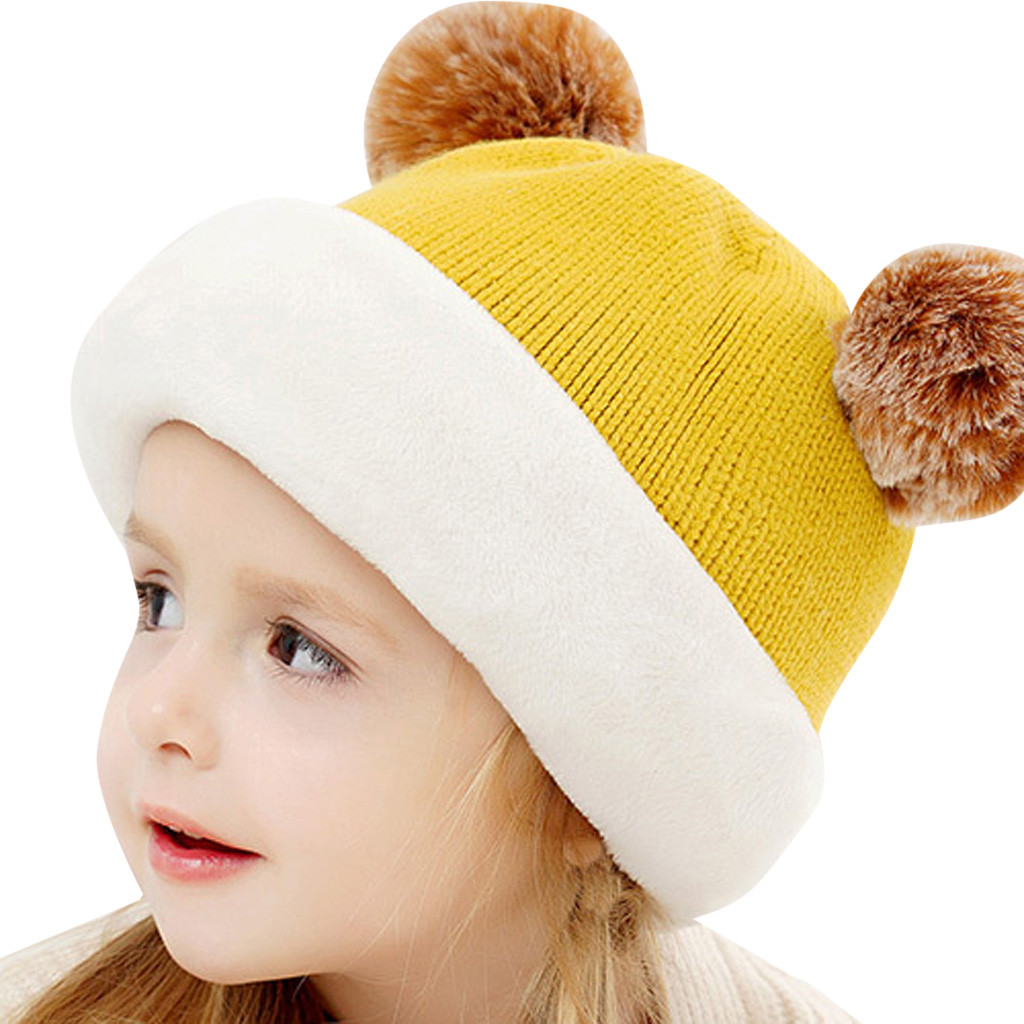 Kids Winter Hats Ears Girls Boys Children Warm Caps Scarf Set Baby Bonnet Enfant Knitted Cute Hat for Girl Boy 1D18 4