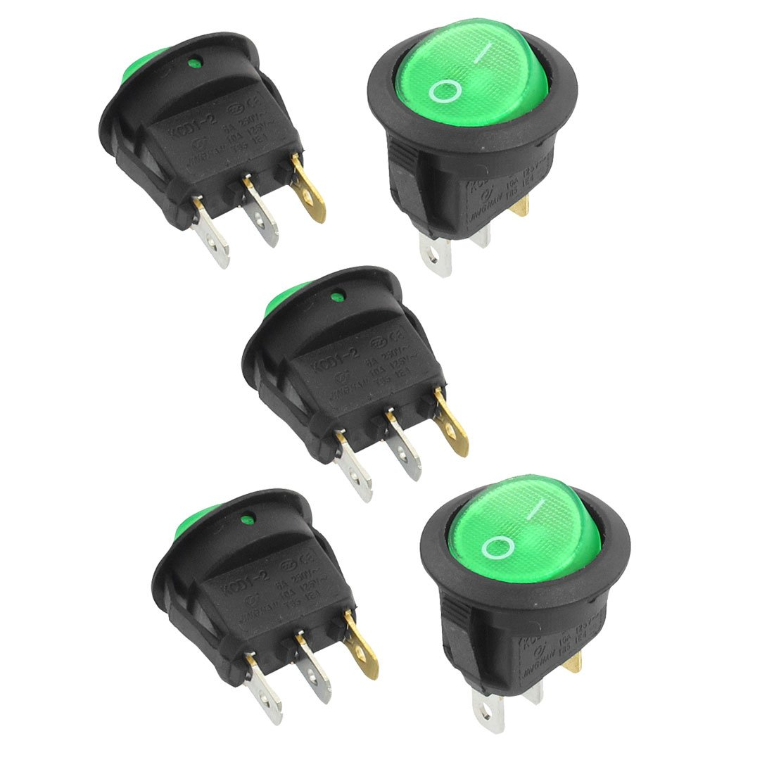 High Quality 5 Pcs 3 Pin Spst Green Neon Light On Off Round Rocker With Wire Leads Details About Toggle Switch Ac 6a 250v 10a 125v