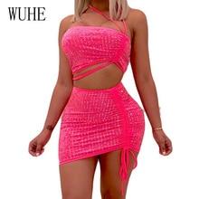 WUHE Slash Neck Rhinestone Two Piece Sets Women Strapless 2 Backless Short Summer Dress Slim Night Club Party Wear