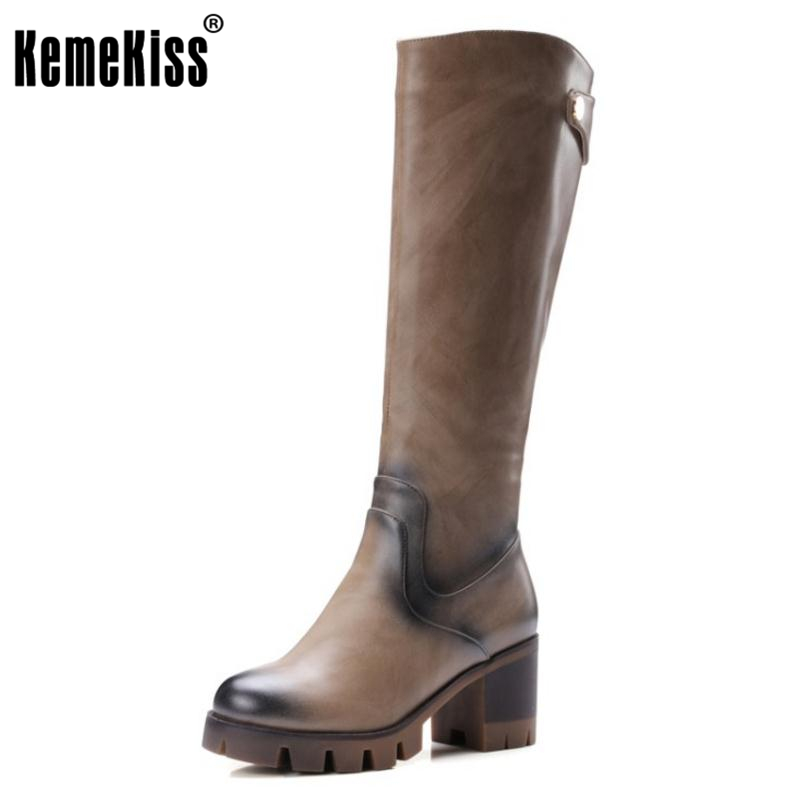 KemeKiss Women Toe Platform Knee Boots Woman Round Toe Square Low Heel Shoes Ladies Brand Vintage Boot Bootines Mujer Size 32-42 kemekiss size 33 42 women s high heel wedge shoes women cross strap platform pumps round toe casual mixed color ladies footwear