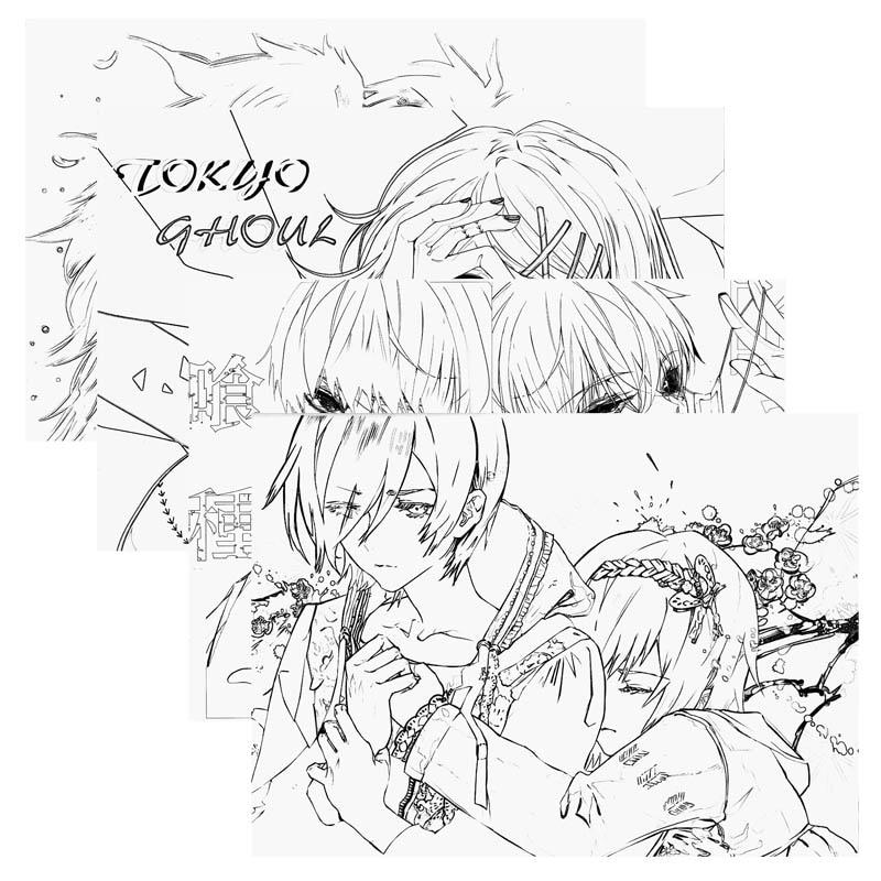 Anime Tokyo Ghoul Dibujos Animados Libro Para Colorear Para Niños