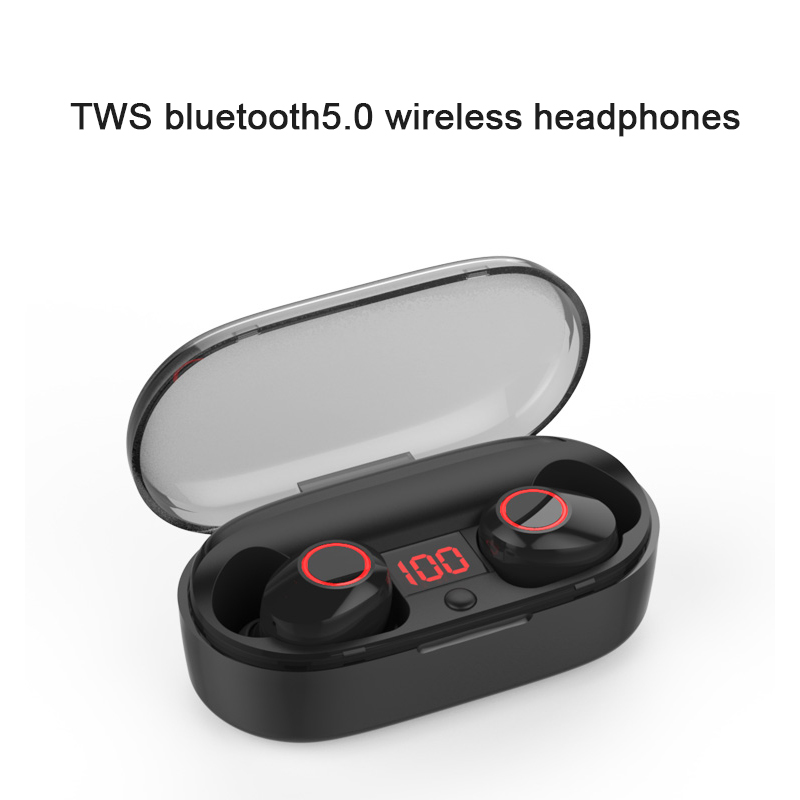 New IPX5 Waterproof and sweat-proof wireless bluetooth5.0 TWS earphone with LED display Charging box for IOS android phone 2018 new mini tws wireless bluetooth5 0 ipx5 waterproof and sweat proof sports earphone with led charger box for mobile phone