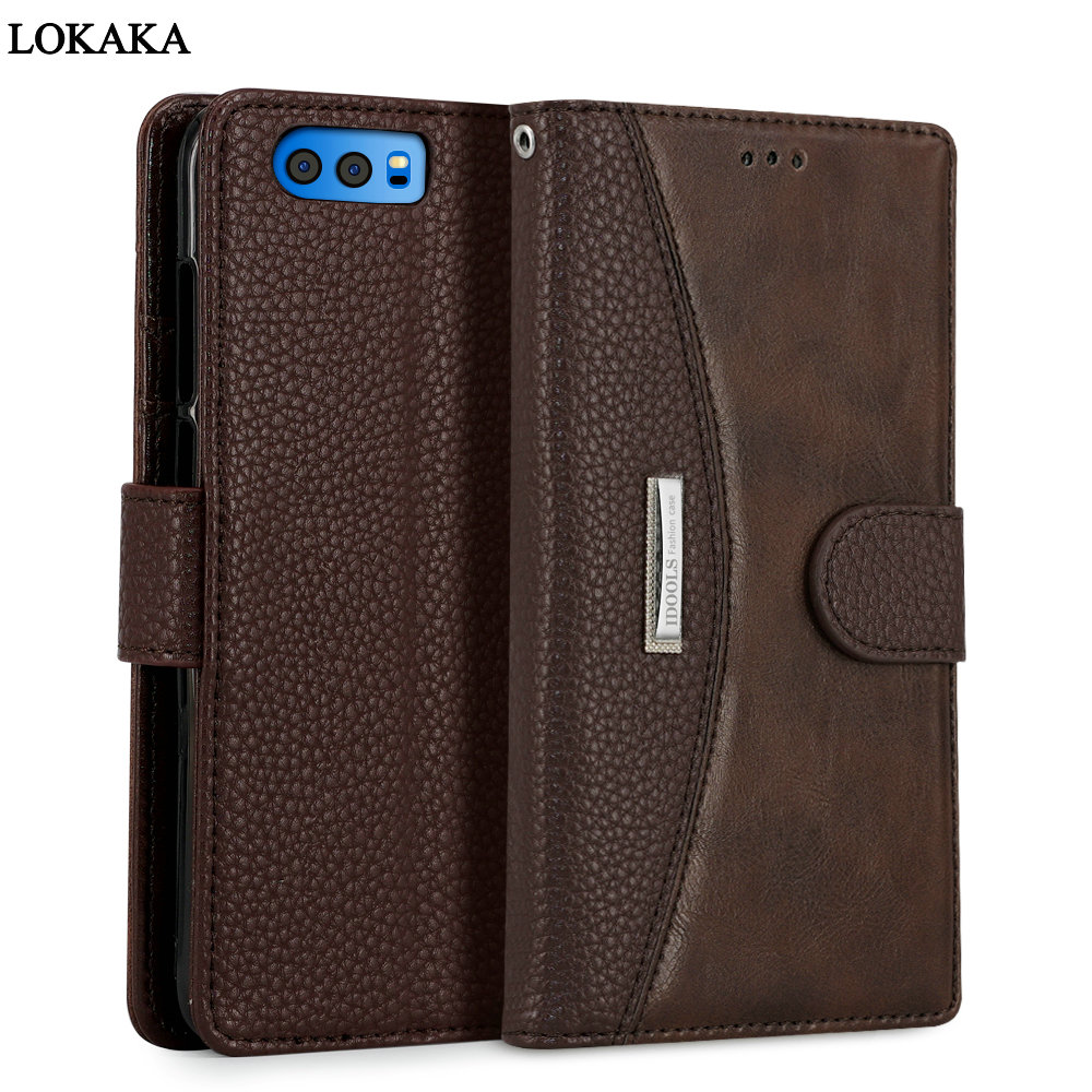 LOKAKA For Huawei Honor 10 9 Case Honor10 Dirt Resistant PU Leather Wallet Flip Card Holder Phone Bags Cases For Huawei Honor 9