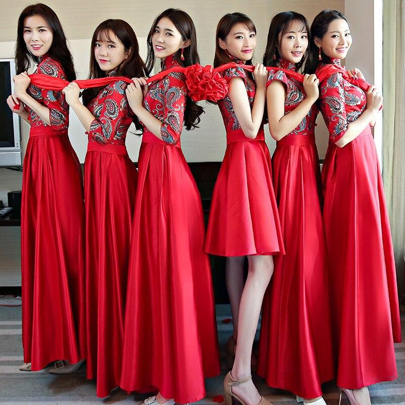 Chinois traditionnel femmes mariage Demoiselle D'honneur Robe Vintage dame nouveau bouton à la main Qipao Robe Demoiselle D'honneur taille S-3XL