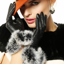 Warmen Genuine leather gloves women fashion winter Elegance rabbit hair sheepskin warm driving