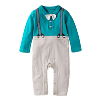 Baby Toddler Kids Boys Clothes Cotton Fake Two Pieces Gentleman Outfits Playsuits Infant Rompers Clothing Baby Boy Clothes