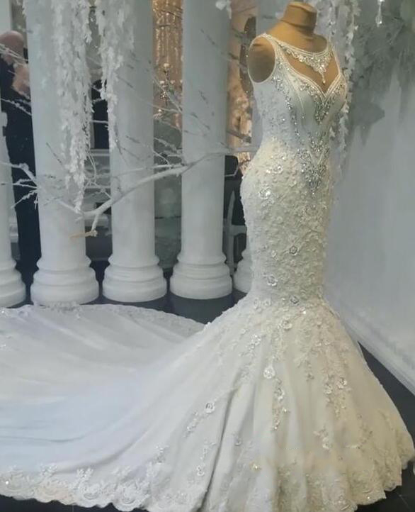 2019 Luxury Abiye Mermaid Wedding Dresses Lace Bridal Gowns With Beaded Crystal Dubai Wedding Dress Casamento