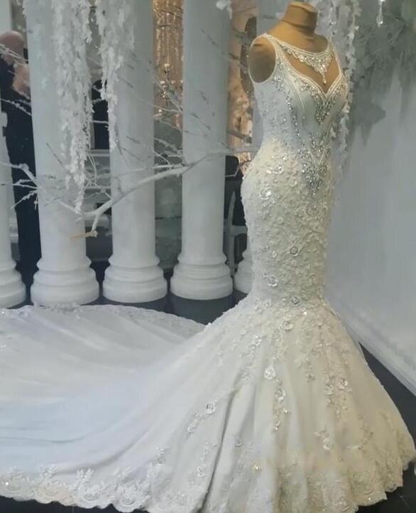 2019 Luxury Abiye Mermaid Wedding Dresses Lace Bridal Gowns With Beaded Crystal Dubai Wedding Dress Casamento