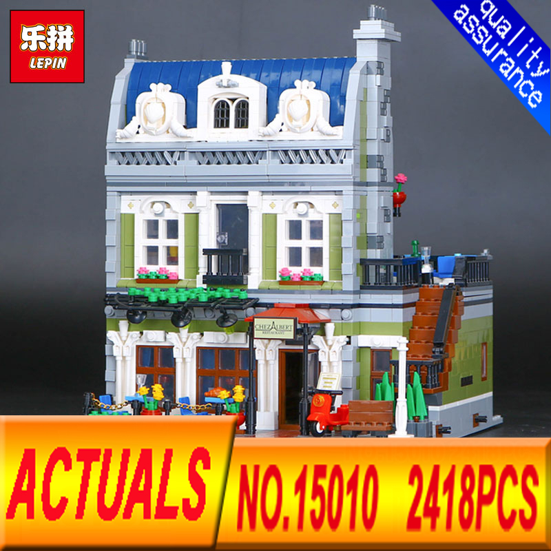 NEW Lepin 15010 Expert City Street Parisian Restaurant Model Building Kits Blocks Funny Children Toys Compatible 10243 dhl new 2418pcs lepin 15010 city street parisian restaurant model building blocks bricks intelligence toys compatible with 10243