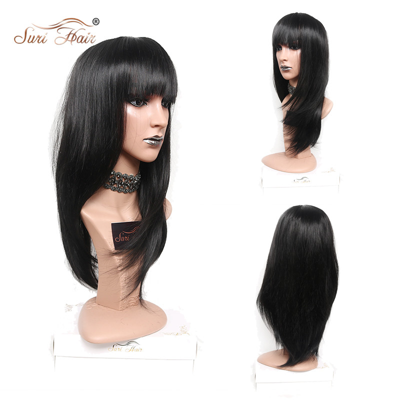 Suri Hair Black Straight Wig With Bangs African American Long Synthetic Wig Heat Resistant For Women 22 inch