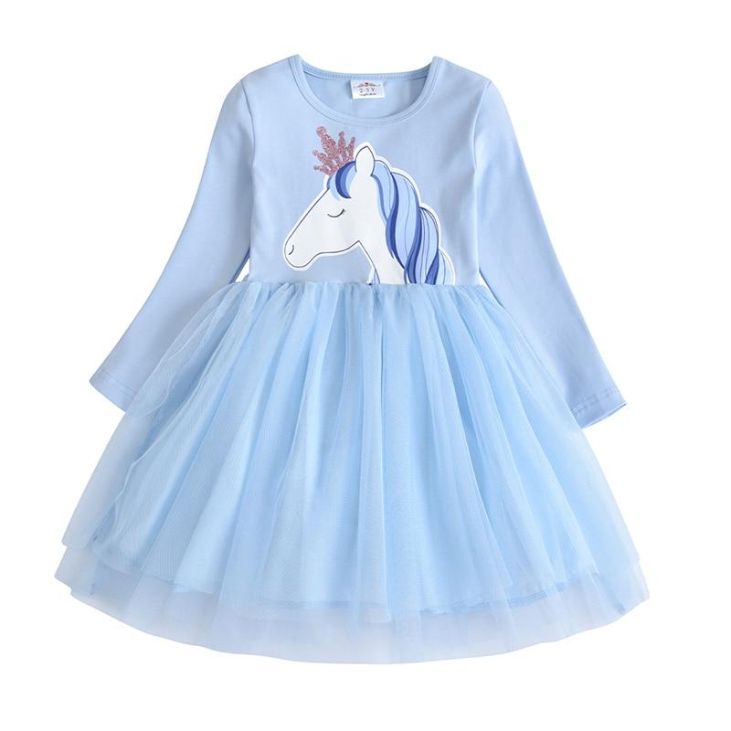 VIKITA Kids Long Sleeve Dresses for Girls Party Dress Star Printed Birthday Tutu Dresses Children Casual Wear Princess Vestidos 9