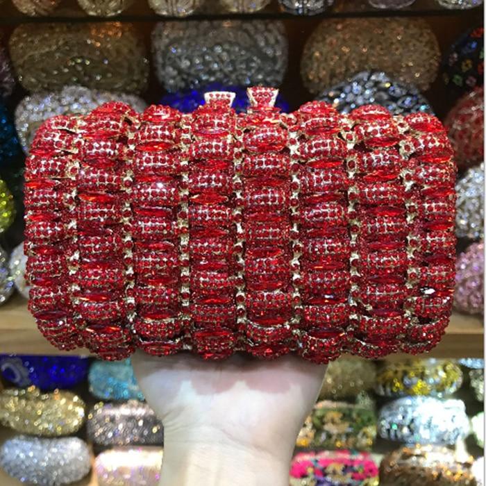 все цены на Women Bridesmaid red Evening Bags Crystal gift Box gold Minaudiere Bridal Handbag Wedding Party Clutch mini night purse for lady