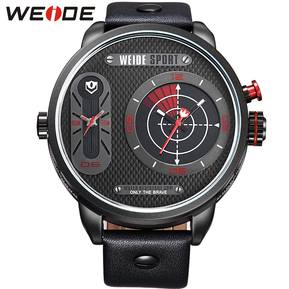ФОТО WEIDE Top Brand Dual Time Analog Red Black Watch Genuine Leather Band Big Dial 30M Water Resistant Wristwatches Original Gift