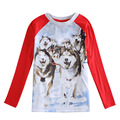 fashion boys wolf 3d t shirt,gray red Clothing for boys clothes kid wear All for children clothing accessories enfant