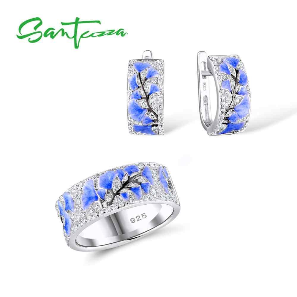 SANTUZZA เงินชุดเครื่องประดับสำหรับหญิงดอกไม้สีฟ้าแหวนต่างหู 925 เงินสเตอร์ลิงแฟชั่นชุดเครื่องประดับ HANDMADE Enamel