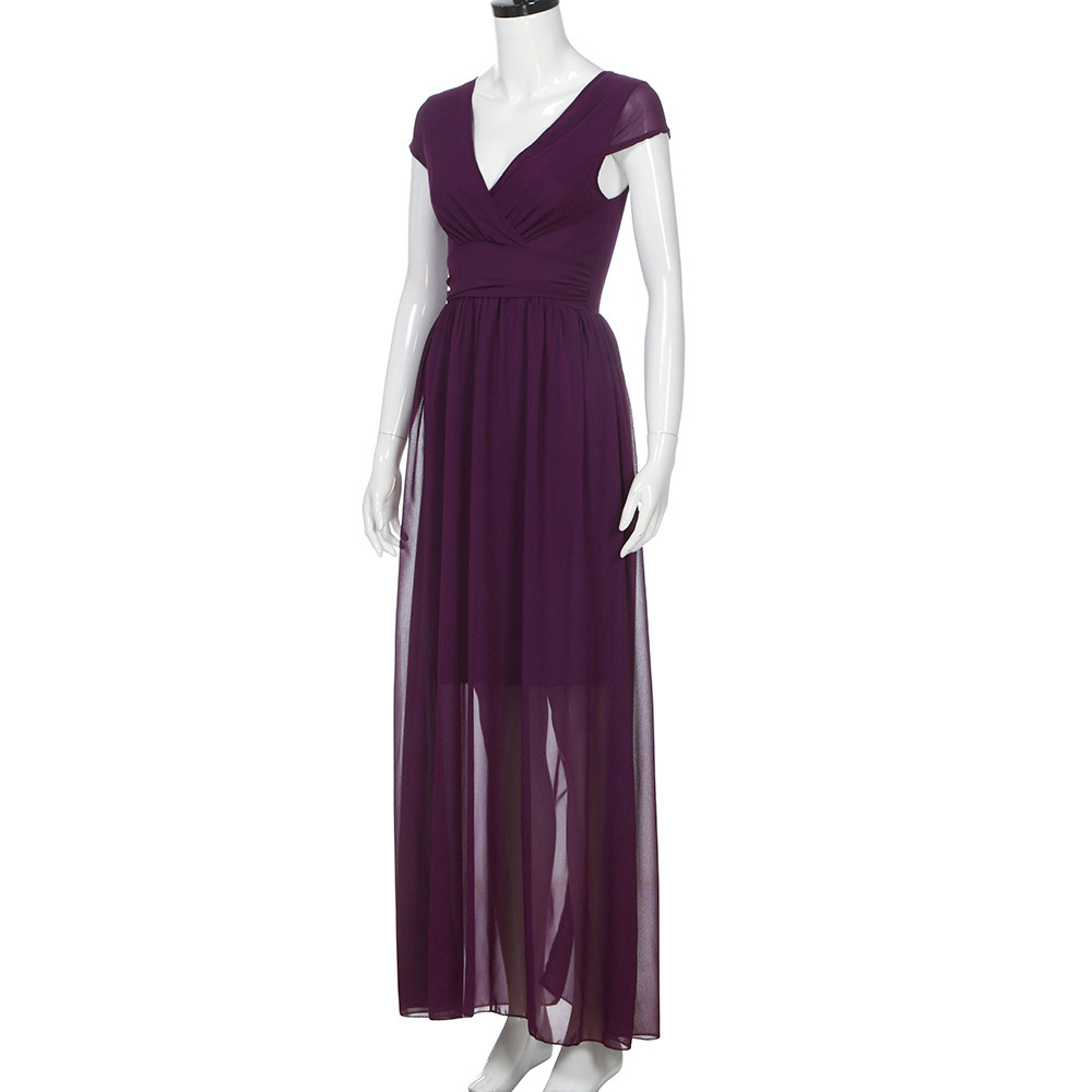 2018 New Fashion Women Ladies Purple Colour Casual Dress Solid Chiffon V  Neck Evening Party Long Loose Dress HIgh Quality-in Dresses from Women s  Clothing ... 8638dcca748c