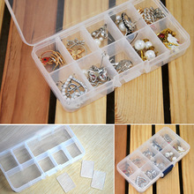 Cheap DIY Wholesale 10 cells Plastic lots Adjustable Jewelry Storage Box Case Craft Organizer Beads Container for DesignerHG99