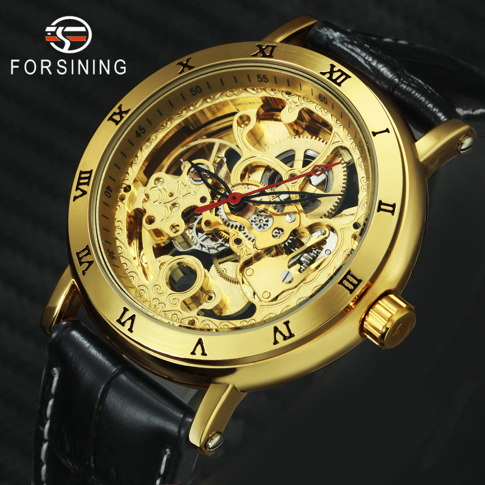 FORSINING 2019 Golden Skeleton Mechanical Watch Men Black Leather Strap Roman Numerals Bezel Top Brand Luxury Auto WristwatchFORSINING 2019 Golden Skeleton Mechanical Watch Men Black Leather Strap Roman Numerals Bezel Top Brand Luxury Auto Wristwatch