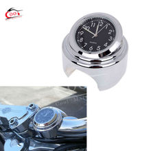 7 8 1 Motorcycle Handlebar Chrome Black Dial Clock Bike Watch For Harley Glide Cruiser FL