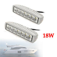 2x White Marine LED light 18w LED Boat Lights T-Top Lights (FLOOD BEAM)