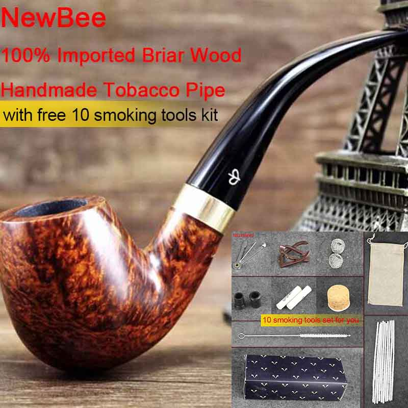 NewBee  Briar Wood Handmade Smoking Pipes Men Bent Tobacco Pipe 9 mm filter Metal Loop Decor 10 Smoking Tools Kit aa0034