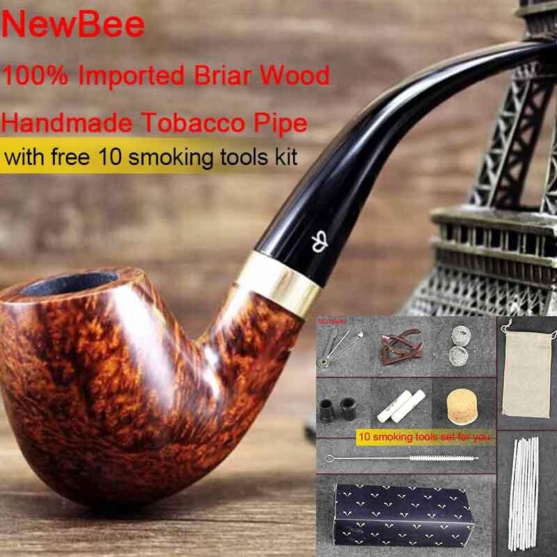 NewBee Briar bois fait à la main fumer tuyaux hommes tube de tabac plié 9mm filtre métal boucle décor 10 outils de fumer Kit aa0034
