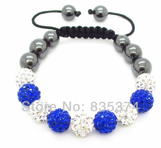 Shambhala jewelry New Crystal Shambhala Bracelets Micro Pave CZ Disco Ball Bead white and blue Free shipping