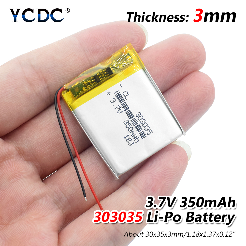1/2/4x 303035 3.7v 350mAh Lithium Ion Li-polymer Battery PCM Protected Selfie Stick Driving Recorder Locator Radio Lipo Bateria