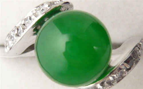 จัดส่งฟรี>>>>>> 18KGPทองคำขาวชุบสีเขียวหยกผู้หญิงแหวนAAAขนาด#7 #8 #9