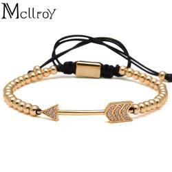 Mcllroy Quality Braided Macrame Bracelet For Women Men Jewelr Copper Micro Pave CZ Arrow Bracelets Men 4mm Round Bead Bracelet