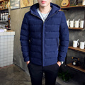 2016 New Brand Winter Warm Jacket For Men Solid Hooded Cotton Thick Slim Fit Coats Plus Size M-3XL 3 Colors Style Clothing