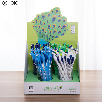 48Pcs/lot Kawaii Silicone Peacock Gel Pen Cute Stationery 0.5mm Black Ink Pen Kids Gift Promation School Office Supplies
