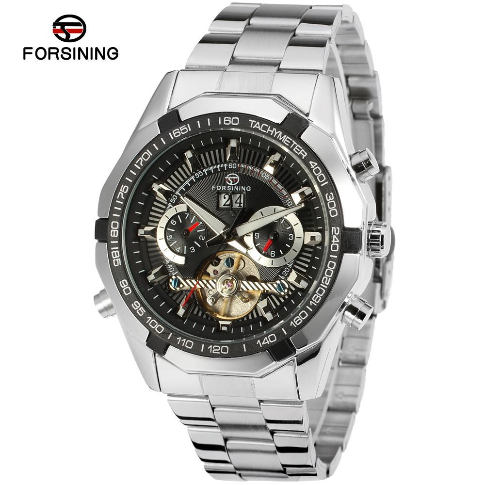 Forsining Tourbillon Watches Mens Automatic Watch Men Luxury Brand Famous Stainless Steel Mechanical Watch Orologio Uomo Hodinky forsining automatic tourbillon men watch roman numerals with diamonds mechanical watches relogio automatico masculino mens clock