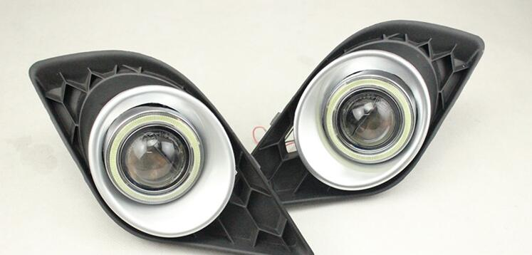 eOsuns Innovative COB angel eye led daytime running light DRL + halo Fog Light + Projector Lens for skoda fabia sport 2012-2014