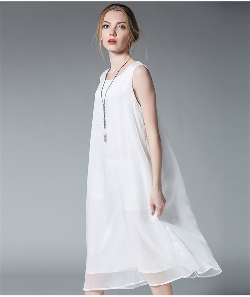 Fashion White Women Long Tank Dress 2017 New Summer Autumn Retro Sleeveless Chiffon Designs Casual Dresses Slim Plus size XXXXL 7
