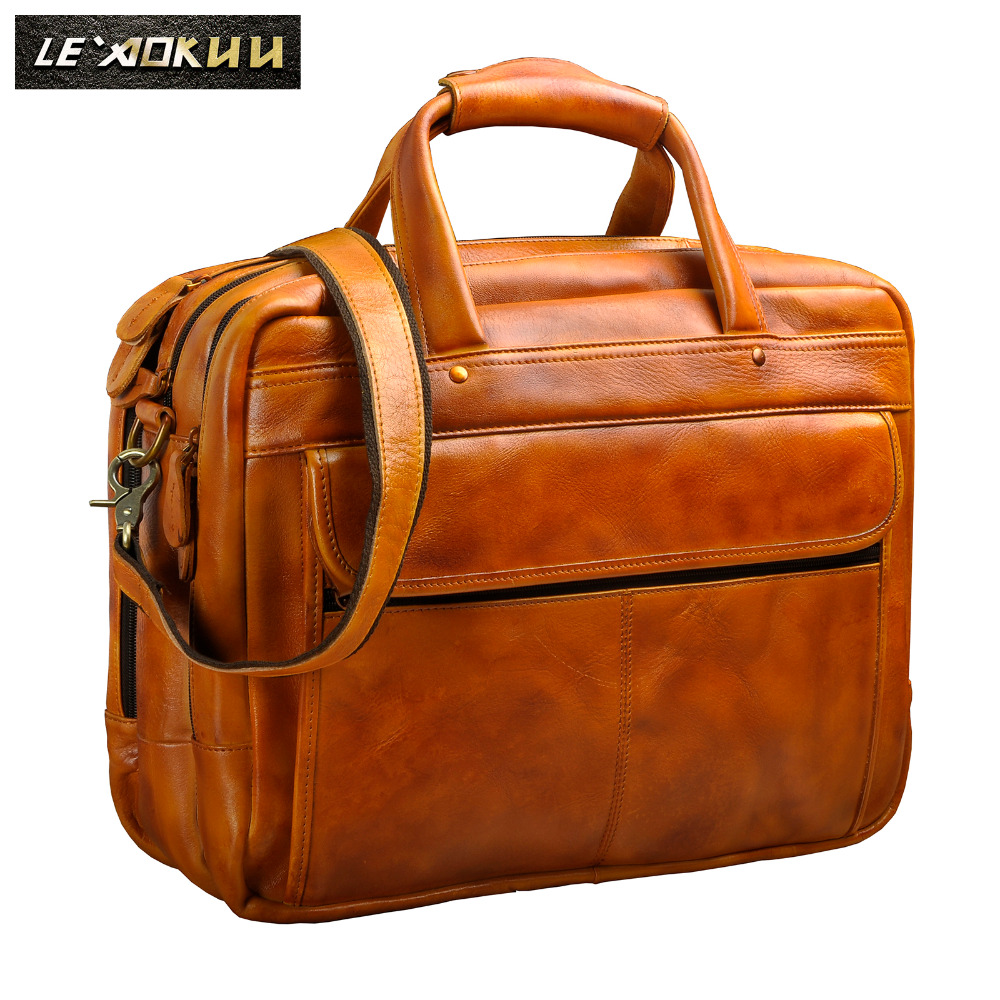 Men Original Leather Retro Fashion Travel Briefcase Business 15.6