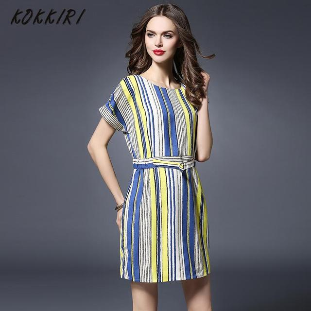 2aff0ec84190 Summer Plus Size Office Dress Round-neck Short Sleeve Above Knee Straight Dress  Vertical Stripes Dress With Waist Drawstring 5xl